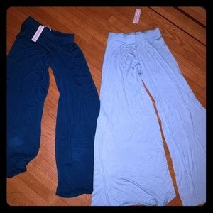 2 pairs of super wide leg flowy pants. COMFY & NWT